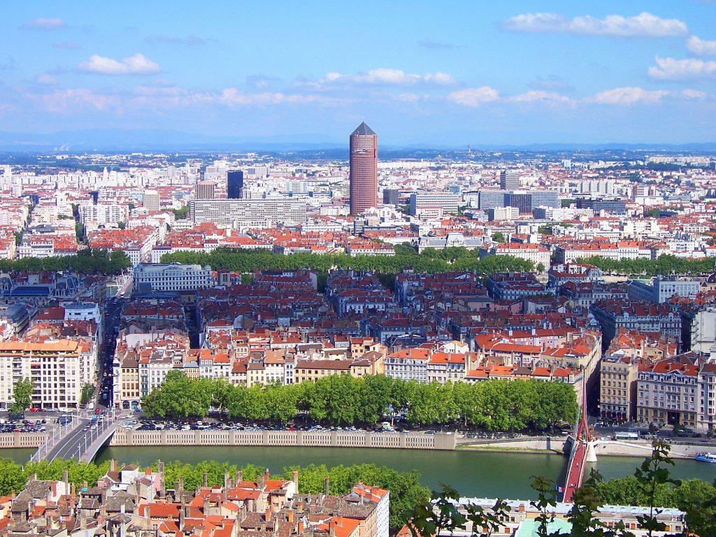 Ville de Lyon vue d'en haut